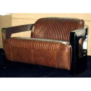 Canapé mars en cuir couleur cognac avec cutures et finitions en acier brillant, deux places h 700 x 750 x 840 Arteinmotion DIV-M