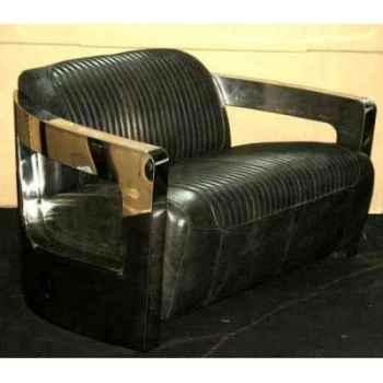 Canapé mars en cuir couleur café avec cutures et finitions en acier brillant deux places h 720 x 1250 x 840 Arteinmotion DIV-MAR