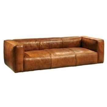 Canapé tribeca a trois places en cuir couleur cognac h 670 x 2520 x 1000 Arteinmotion DIV-TRI0026