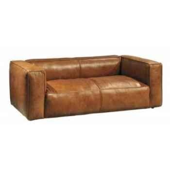 Canapé tribeca en cuir couleur cognac deux places h 670 x 2000 x 1000 Arteinmotion DIV-TRI0062