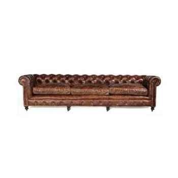 Canapé kensington en cuir couleur cigare quatre places h 760 x 3000 x 1200 Arteinmotion DIV-KEN0015