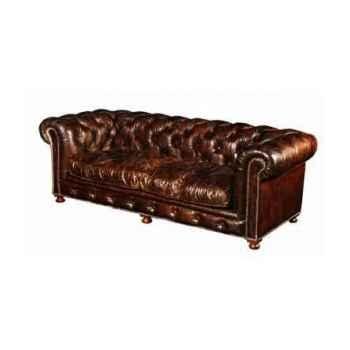 Canapé kensington en cuir couleur cigare trois places h 760 x 2200 x 970 Arteinmotion DIV-KEN0002