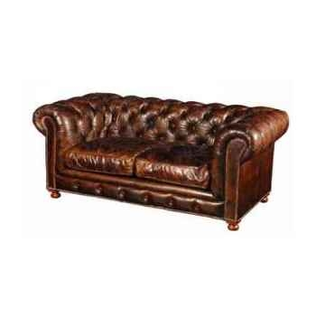 Canapé kensington en cuir couleur cigare deux places h 760 x 1820 x 970 Arteinmotion DIV-KEN0001