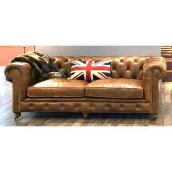 Canapé kensington en cuir couleur cognac trois place h 760 x 2200 x 970 Arteinmotion DIV-KEN0024