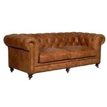 Canapé kensington en cuir couleur cognac deux places h 760 x 1820 x 970 Arteinmotion DIV-KEN0025