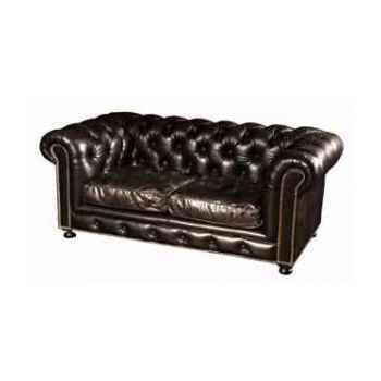 Canapé kensington en cuir noir deux places h 760 x 1820 x 970 Arteinmotion DIV-KEN0003