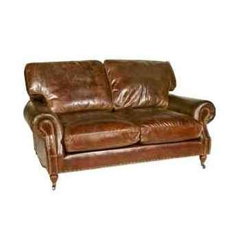 Canapé balmoral in cuir couleur cigare deux places h 930 x 1800 x 1050 Arteinmotion DIV-BAL0011