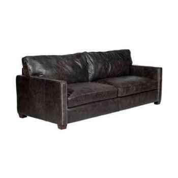 Canapé viscount en cuir couleur café trois places h 850 x 2230 x 1000 Arteinmotion DIV-VIS0013