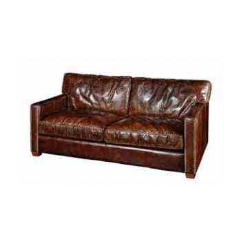 Canapé viscount en cuir couleur cigare trois places h 850 x 2230 x 1000 Arteinmotion DIV-VIS0018