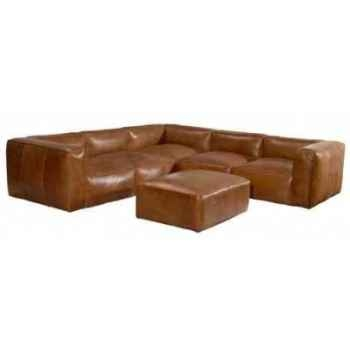 Canapé tribeca en cuir couleur cognac avec coin modulaire et appuis -pieds h 670 x 2750 x 2750 Arteinmotion DIV-TRI0069