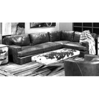 Canapé oslo en cuir couleur café avec coin modulaire h 810 x 3000 x 2000 Arteinmotion DIV-OSL0027