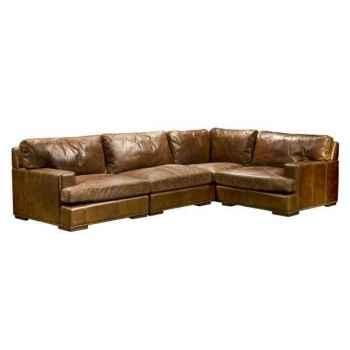 Canapé oslo en cuir couleur cigare avec coin modulaire h 810 x 3000 x 2000 Arteinmotion DIV-OSL0056