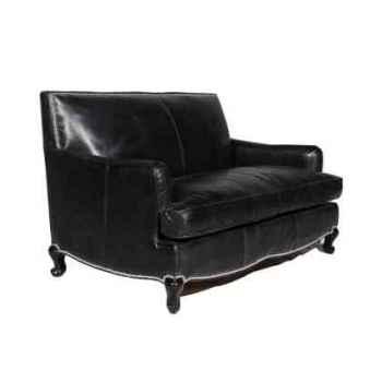 Canapé cannes en cuir noir deux place h 810 x 1500 x 1000 Arteinmotion DIV-CAN0014