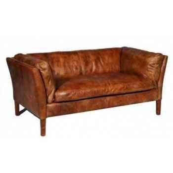 Canapé reggio en cuir couleur cognac deux place h 680 x 1520 x 840 Arteinmotion DIV-REG0023