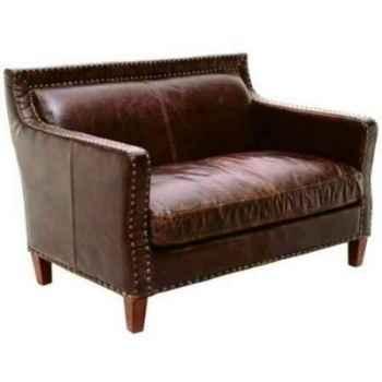 Canapé nizam en cuir couleur cigare deux places h 790 x 1160 x 810 Arteinmotion DIV-NIZ0017