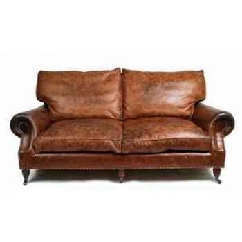 Canapé balmoral en cuir 3 places couleur cigare h 930 x 2000 x 1050 arteinmotion DIV-BAL0064