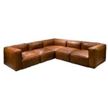 Canapé d'angle tribeca en cuir couleur cognac h 670 x 2750 x 2750 h 670 x 3500 x 2000 arteinmotion DIV-TRI0092