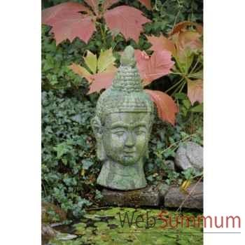 Old terra buddha( sujet tete de buddha en terre cuite moussée) Intermas 180722
