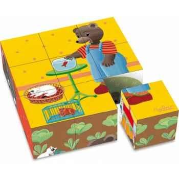 9 cubes en carton petit ours brun vilac 6062