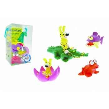 Figurine set n°1 = marsupilami= 4 pcs marsu croco bébé nénuphar grenouille piranha violet Plastoy 80540