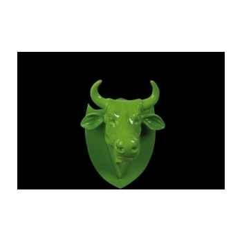 Figurine Trophée vache cowhead green  25cm Art in the City 80994