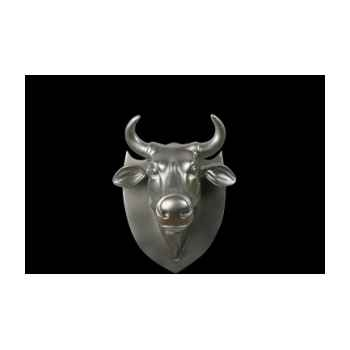 Figurine Trophée vache cowhead silver 25cm Art in the City 80998
