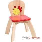 chaise rouge en bois pour enfants voila s019b