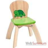 chaise verte en bois pour enfants voila s019e