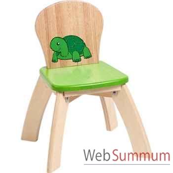 Chaise verte en bois pour enfants  Voila - S019E