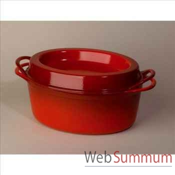 Le creuset cocotte en fonte ovale doufeu 35 cm - coloris cerise -319830