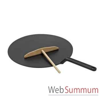 Le creuset crêpière plate 32 cm en fonte + rateau -006130