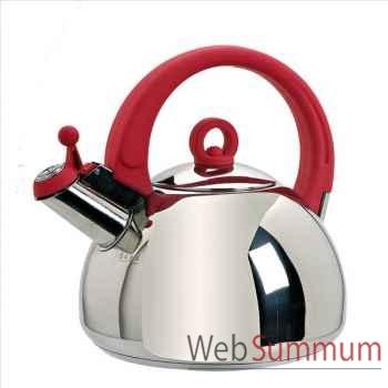 Bouilloire inox 2l5 anse rouge -001598