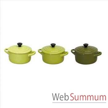 """Le creuset lot de 3 mini cocottes céramique 10 cm """"green"""" -001899"""
