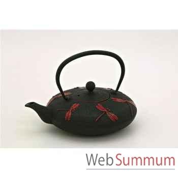Jour de marche théière fonte 0.8l noire - libellule rouge  -002887
