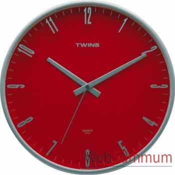 Twins pendule ronde 31 cm rouge -003244