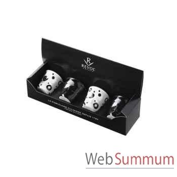 Revol coffret de 4 gobelets poppies blanc / noir brillant 8 cl - froissé -003599