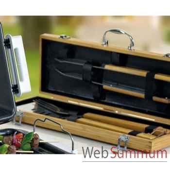 Jour de marche malette à barbecue bambou - 5 pièces -004012