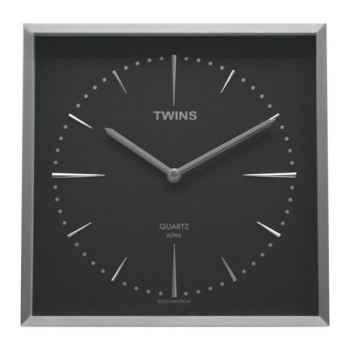 Twins pendule carrée 28.5 cm noire -004820