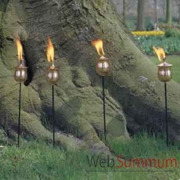 4 Lampes à huile Brussels acier brossé Aristo - 828665