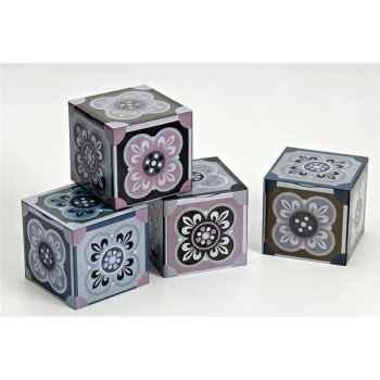 Virojanglor lot de 4 boites carrées de 100 grammes - azujelos clasic -005161