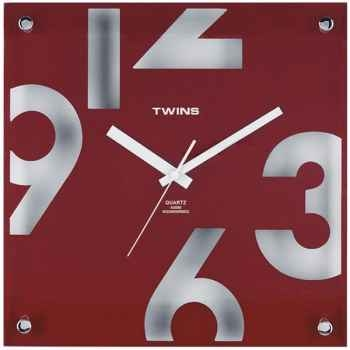 Twins pendule carrée design 30 cm rouge -006276