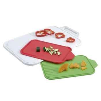 Zyliss set de 3 planches à découper blanc , rouge et vert -006657
