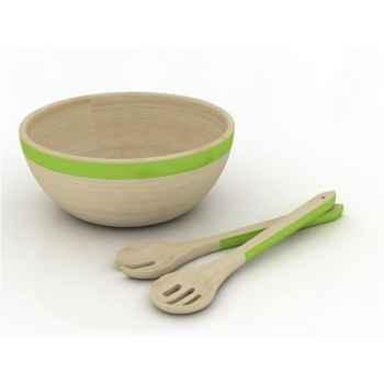 Saladier en bois 29 cm avec couverts à salade -006783