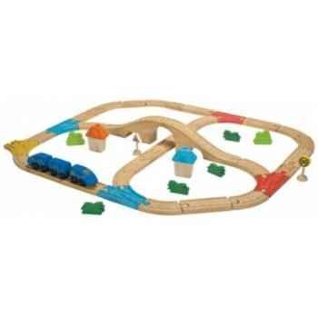 Circuit train double avec pont - planwood en bois  Plan Toys -6606