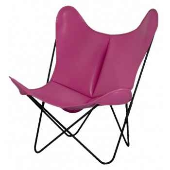 Fauteuil aa butterfly cuir rose AA new design