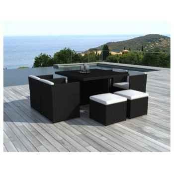 Salon de jardin encastrable puerto rico en résine tressée Delorm Design