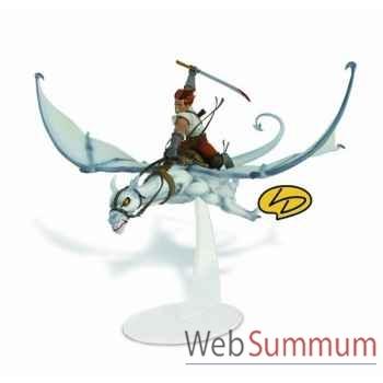 Figurine lanfeust chevauchant sphax polychrome sur socle  Leblon-Delienne -LANST05701