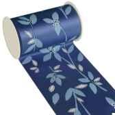 banderole pour decoration de table 3 m x 11 cm bleu textile leaves papstar 80039