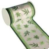 banderole pour decoration de table 3 m x 11 cm vert green leaves papstar 80042