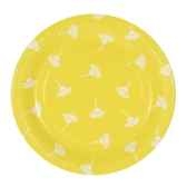 assiettes carton invitation rond o 26 cm jaune flowers papstar 11815